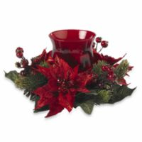 Nearly Natural Poinsettia & Berry Candelabrum