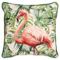 Boho Living Flamingto Paradise Square Throw Pillow in White/Green