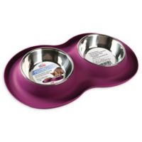 Dual 5 oz. Pet Bowls with Silicone Mat in Purple