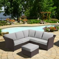 OVE® Clara 3-Piece Patio Sectional Set in Brown