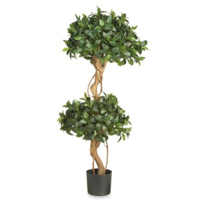 nearly natural 4foot silk sweet bay double ball topiary tree