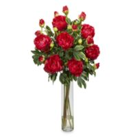 Nearly Natural Silk Peony Flower Arrangement w/Cylinder Vase in Red