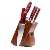 Lamson® Fire Forged 6-Piece Walnut Knife Block Set in Red