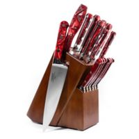 Lamson® Fire Forged 16-Piece Walnut Knife Block Set in Red