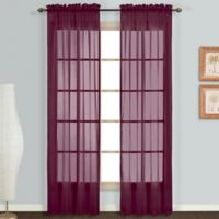 Monte Carlo Sheer Voile 63-Inch Rod Pocket Window Curtain Panel Pair in Burgundy