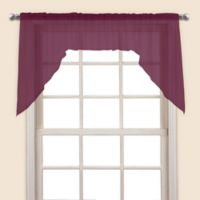 Monte Carlo Sheer Voile Window Swag Pair in Burgundy