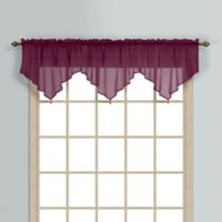 Monte Carlo Sheer Voile Ascot Valance in Burgundy