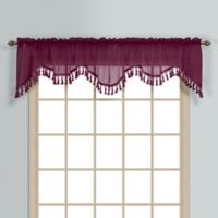 Monte Carlo Sheer Voile Scalloped Valance in Burgundy
