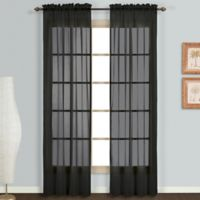 Monte Carlo Sheer Voile 95-Inch Rod Pocket Window Curtain Panel Pair in Black
