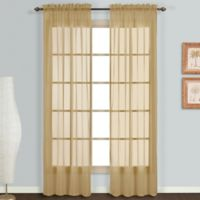 Monte Carlo Sheer Voile 84-Inch Rod Pocket Window Curtain Panel Pair in Bronze