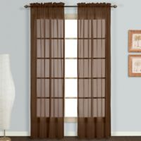 Monte Carlo Sheer Voile 95-Inch Rod Pocket Window Curtain Panel Pair in Chocolate