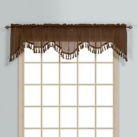 Monte Carlo Sheer Voile Scalloped Valance in Chocolate