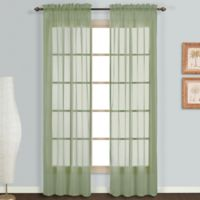 Monte Carlo Sheer Voile 95-Inch Rod Pocket Window Curtain Panel Pair in Sage