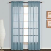 Monte Carlo Sheer Voile 63-Inch Rod Pocket Window Curtain Panel Pair in Slate Blue