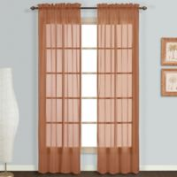 Monte Carlo Sheer Voile 84-Inch Rod Pocket Window Curtain Panel Pair in Spice