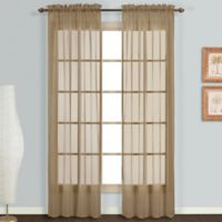 Monte Carlo Sheer Voile 95-Inch Rod Pocket Window Curtain Panel Pair in Taupe