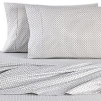 Micro Lush Microfiber Geometric Queen Sheet Set in Light Grey
