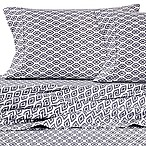 Micro Lush Microfiber Ikat Queen Sheet Set in Grey