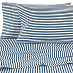 Micro Lush Microfiber Striped Queen Sheet Set in Teal