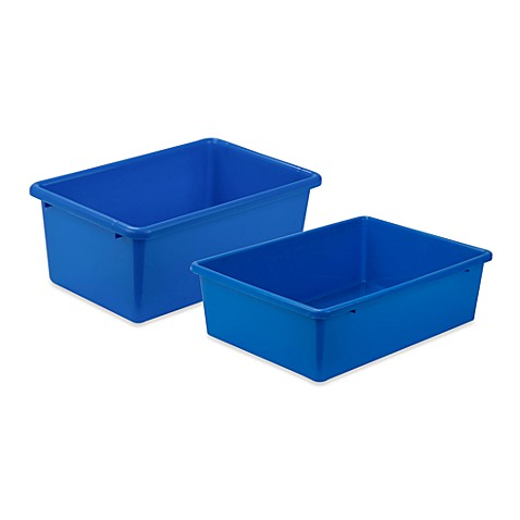 Honey can do plastic storage bin in blue bed bath beyond - Plastic bathroom storage containers ...