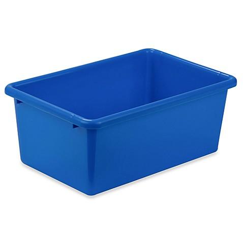 Buy honey can do small plastic storage bin in blue from for Blue bathroom bin