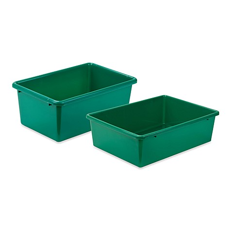 Honey can do plastic storage bin in green bed bath beyond - Plastic bathroom storage containers ...