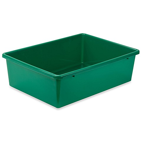Buy honey can do large plastic storage bin in green from for Green bathroom bin