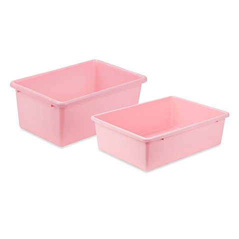 Honey can do plastic storage bin in light pink bed bath for Pink bathroom bin