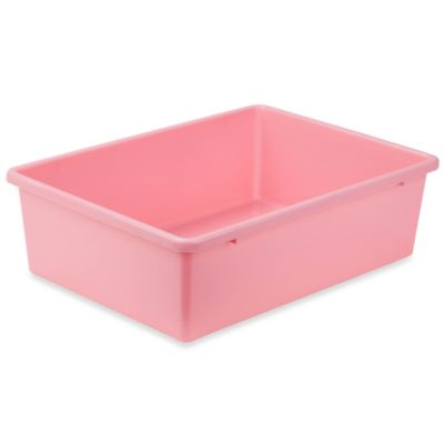 buy pink plastic storage bin from bed bath beyond. Black Bedroom Furniture Sets. Home Design Ideas