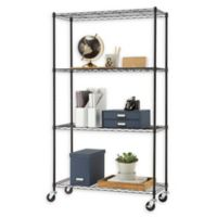 Trinity EcoStorage™ 4-Tier Wire Shelving Rack with Wheels in Black
