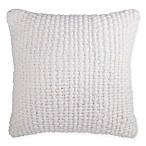 Theo Slub Knit Square Throw Pillow in White