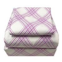 American Colors Plaid Queen Sheet Set in Purple