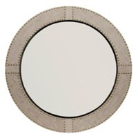 Jamie Young Cait 36-Inch Round Linen Studded Wall Mirror