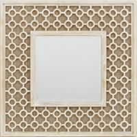 Jamie Young Cai 32-Inch Square Lattice Scroll Wood Wall Mirror