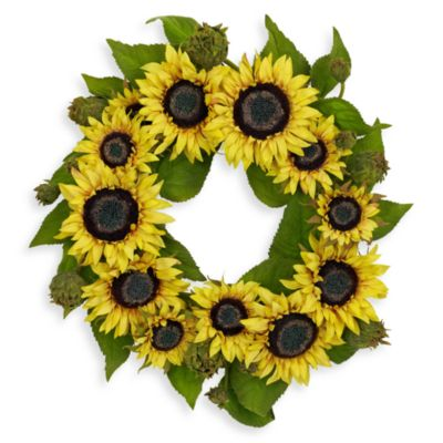Nearly Natural 22 Inch Sunflower Wreath