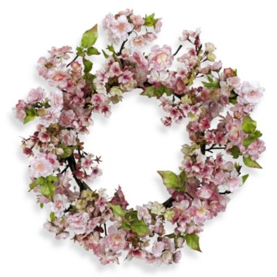 nearly natural 24 inch cherry blossom wreath - Decorative Wreaths
