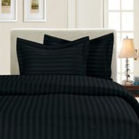 Elegant Comfort Dobby Stripe Reversible Twin/Twin XL Duvet Cover Set in Black