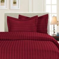 Elegant Comfort Dobby Stripe Reversible Twin/Twin XL Duvet Cover Set in Burgundy