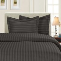 Elegant Comfort Dobby Stripe Reversible Twin/Twin XL Duvet Cover Set in Grey