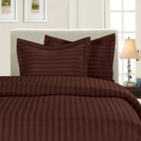 Elegant Comfort Dobby Stripe Reversible King/California King Duvet Cover Set in Chocolate