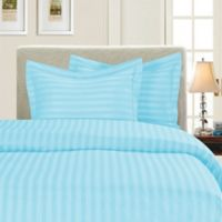 Elegant Comfort Dobby Stripe Reversible King/California King Duvet Cover Set in Aqua