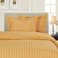 Elegant Comfort Dobby Stripe Reversible King/California King Duvet Cover Set in Gold