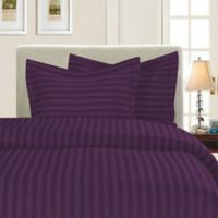 Elegant Comfort Dobby Stripe Reversible King/California King Duvet Cover Set in Purple