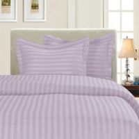 Elegant Comfort Dobby Stripe Reversible Full/Queen Duvet Cover Set in Lilac
