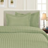 Elegant Comfort Dobby Stripe Reversible King/California King Duvet Cover Set in Sage