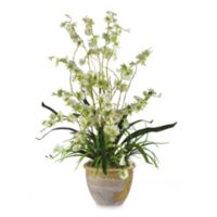 Nearly Natural 26-Inch Dancing Lady Silk Orchid Arrangement in Green