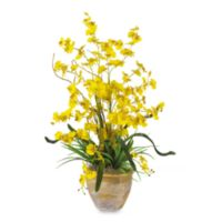 Nearly Natural 26-Inch Dancing Lady Silk Orchid Arrangement in Yellow