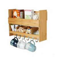 Mind Reader Wall-Mount 2-Tier Bamboo Coffee Rack Shelf in Brown