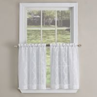 Kensington Ogee 24-Inch Kitchen Window Curtain Tier Pair in White