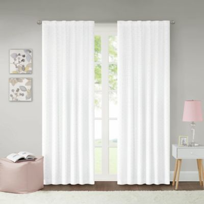 Lizzie Dot 63 Inch 100% Blackout Rod Pocket Window Curtain Panel In White/